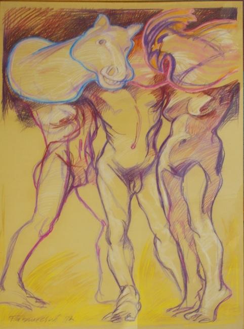Hahn und Pferd Pastell 150 x 100 cm Preis auf Anfrage - Miguel Fabruccini