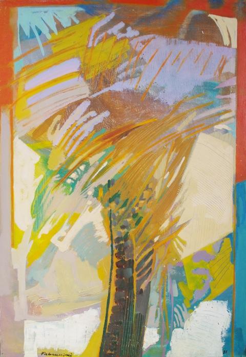 Die Palme Mischtechnik auf Leinwand 1987 100 x 70 cm Preis auf Anfrage - Miguel Fabruccini