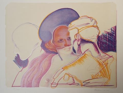 Das Gespräch Originalfarblithografie Auflage 150 Sign. und nummeriert - Miguel Fabruccini